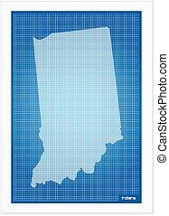Indiana on blueprint on a white background