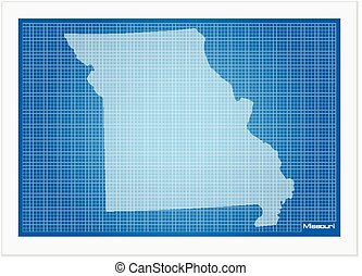 Missouri on blueprint on a white background