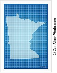 Minnesota on blueprint on a white background