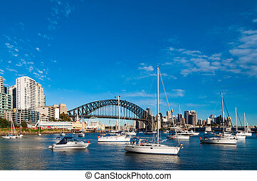 Sydney Harbour Bridge and cityscape with yachts