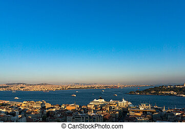 Aerial view of modern Istanbul megalopolis cityscape -...
