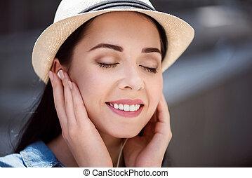mujer, Música, encantado, Escuchar