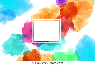 colorful spotty watercolour illustration painting square...