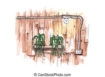 watercolour painting grunge wood wall with metal eletricity pipe visible illustration