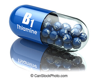 Vitamin B1 capsule. Pill with thiamine. Dietary supplements....
