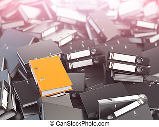 One orange office binder and pile of black others. Archive....