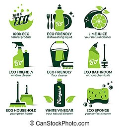 flat icon set for eco cleaning