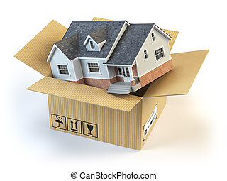 Moving house. Real estate market. Delivery concept....