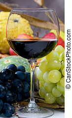 Harvest Wine - An inviting glass of red wine with grapes...