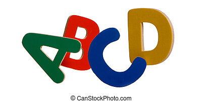 ABCD - Colorful letters of the alphabet isolated on white....