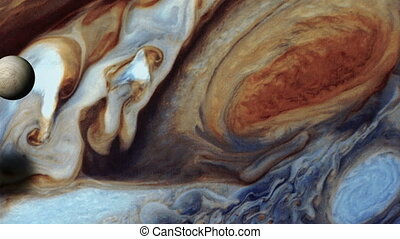jupiter and europa - moon europa flying over the surface of...
