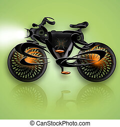 Bike Black Flame - Abstract futuristic concept bicycle...