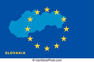 Flag of European Union with Slovakia on background Vector EU...