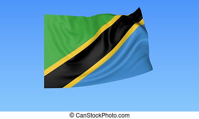Waving flag of Tanzania, seamless loop. Exact size, blue...