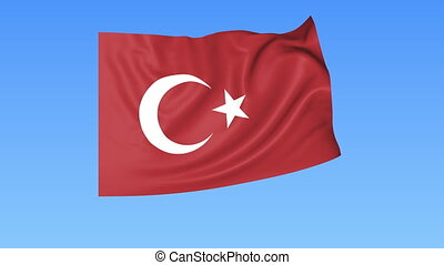 Waving flag of Turkey, seamless loop. Exact size, blue...