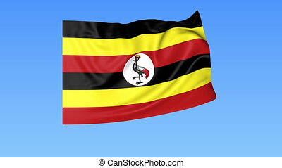 Waving flag of Uganda, seamless loop. Exact size, blue...