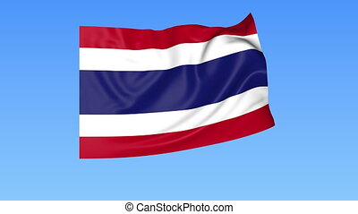 Waving flag of Thailand, seamless loop Exact size, blue...