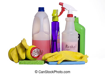 Cleaning Supplies 5 - Cleaning supplies laid out on the...
