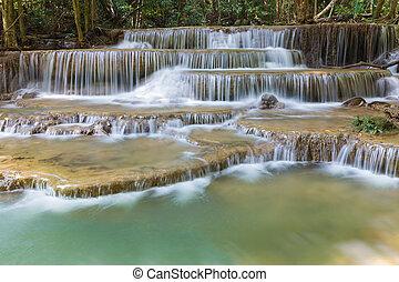 Deep blue stream waterfall - Close up deep blue stream...