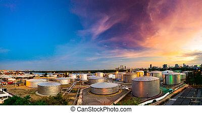 raffineria, industriale, crepuscolo, serbatoi, olio
