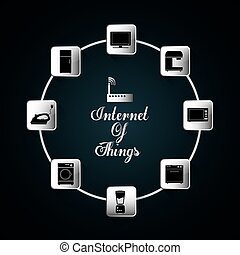 Appliances icon set. Internet of things design. vector graphic