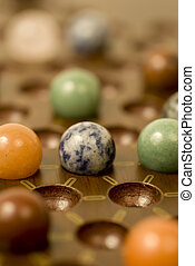 Chinese Checkers 1 - A close up of a chinese checkers game.