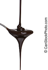 Chocolate Syrup - Chocolate syrup being poured into a spoon...