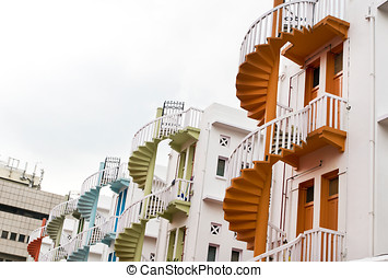 Bugis Village Colorful Spiral Staircase - Colorful spiral...