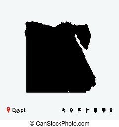 High detailed vector map of Egypt with navigation pins.