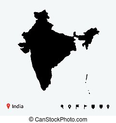 High detailed vector map of India with navigation pins.