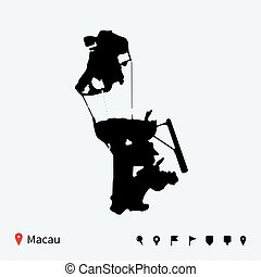 High detailed vector map of Macau with navigation pins.