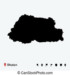 High detailed vector map of Bhutan with navigation pins.