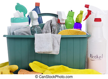 Cleaning Supplies - A container with all the daily cleaning...