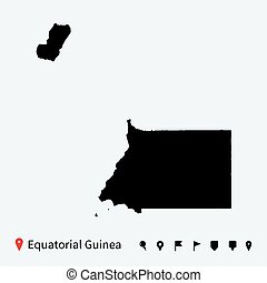 High detailed map of Equatorial Guinea with pins. - High...