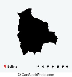 High detailed vector map of Bolivia with navigation pins.