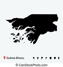 High detailed vector map of Guinea-Bissau with navigation...
