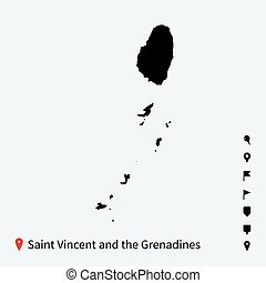 High detailed vector map of Saint Vincent and Grenadines...