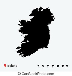 High detailed vector map of Ireland with navigation pins.