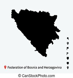 High detailed vector map Federation of Bosnia and...