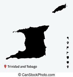 High detailed vector map of Trinidad and Tobago with pins. -...