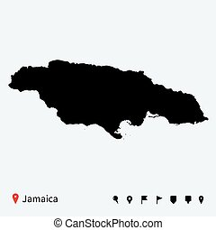 High detailed vector map of Jamaica with navigation pins.
