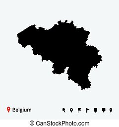 High detailed vector map of Belgium with navigation pins.