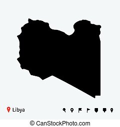 High detailed vector map of Libya with navigation pins