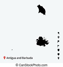 High detailed vector map of Antigua and Barbuda with...