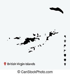 High detailed vector map of British Virgin Islands with pins...