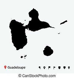 High detailed vector map of Guadeloupe with navigation pins