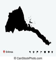 High detailed vector map of Eritrea with navigation pins