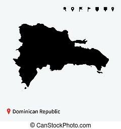 High detailed vector map of Dominican Republic with pins -...