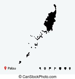 High detailed vector map of Palau with navigation pins