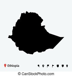 High detailed vector map of Ethiopia with navigation pins